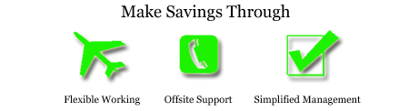 Servers make saving through Flexible working, Offsite support, simplified management